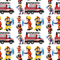 Fire Fighter Fabric, Cartoon Firefighters, Cotton or Fleece 5770 - Beautiful Quilt