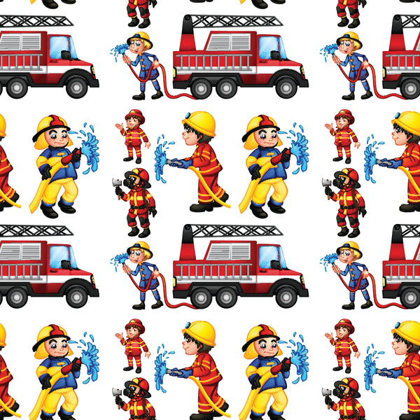 Fire Fighter Fabric Cartoon Firefighters 5770