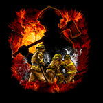 Fire Fighter Fabric, Fighting Together on Black 1606