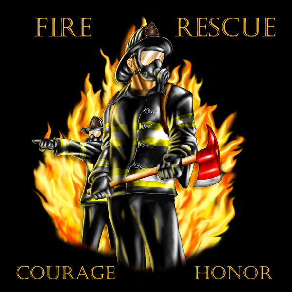 Firefighter Fabric, Fire Rescue, Courage Honor Fabric Panel 1604 - Beautiful Quilt
