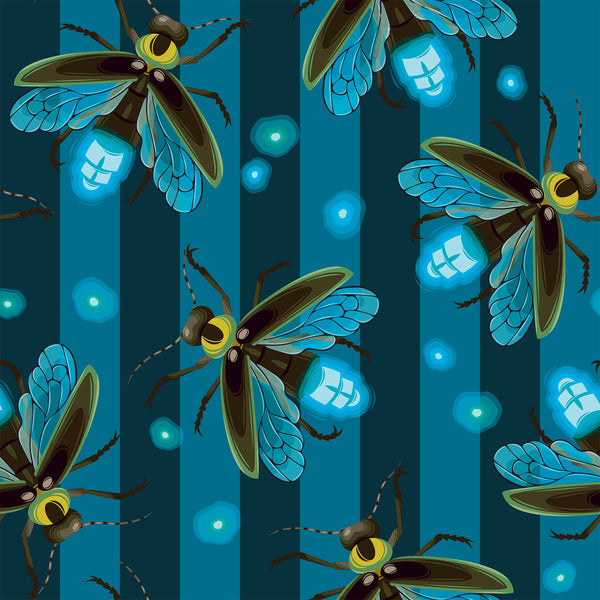 Bug Fabric, Firefly fabic on Blue, Cotton or Fleece 2262