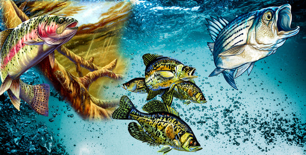 Fishing Fabric Panel, Trout, Crappie and Bass 1130