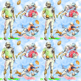 Football Fabric, Football Player Fabric, Cotton or Fleece 1420 - Beautiful Quilt