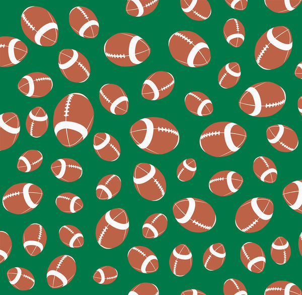 Sports Fabric, Footballs on Green, Cotton or Fleece 2263 - Beautiful Quilt