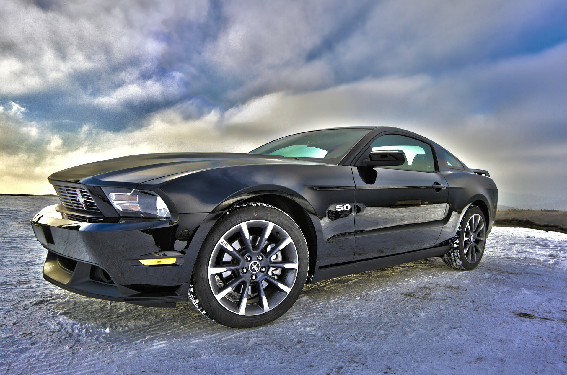 Car fabric panel mustang black with a stormy background 520 beautiful quilt