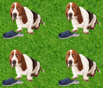 Dog Fabric, Basset Hound with Slipper Yardage 1493 - Beautiful Quilt
