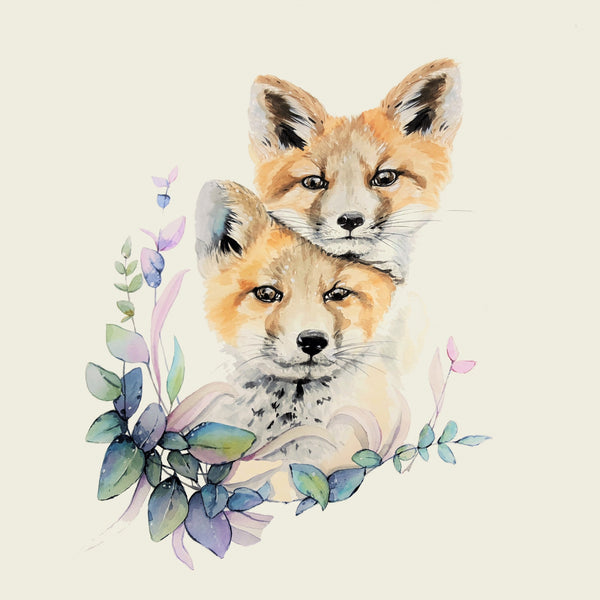 Animal Fabric, Watercolor Fox Fabric Panel 1710 - Beautiful Quilt