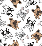 Dog Fabric, French Bull Dog Fabric, Illustration, Cotton or Fleece, 3312 - Beautiful Quilt