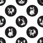 Dog Fabric, French Bull Dog, Black and White, Frenchie, Cotton or Fleece 1368
