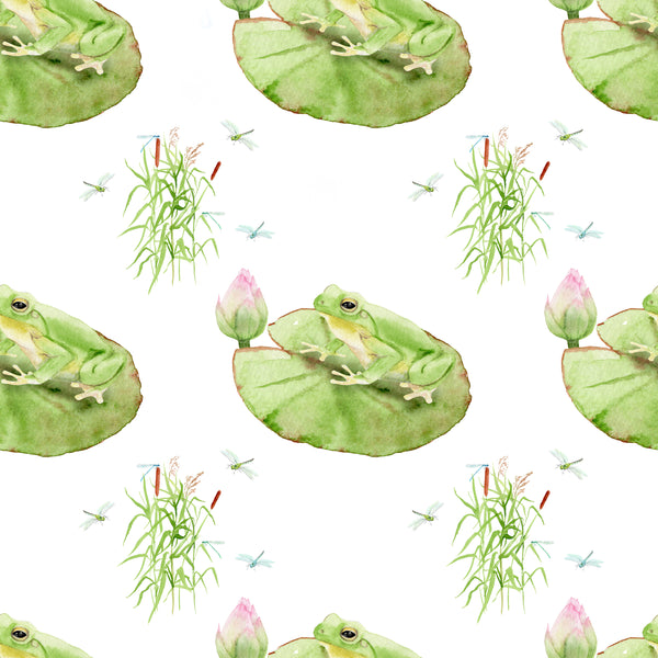 Frog Fabric, Watercolor Frogs on a Lily Pad, Cotton or Fleece, 2032