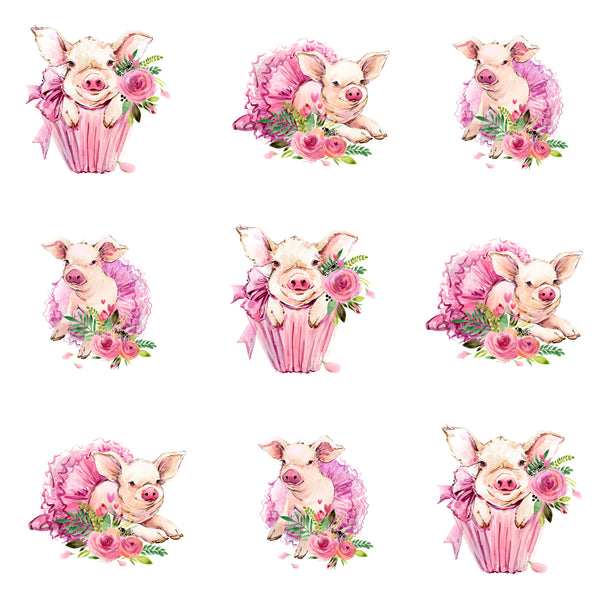 Pig Fabric, Girly Pig Fabric on White, Cotton or Fleece 2288