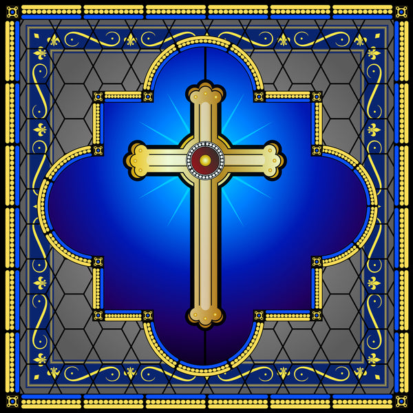 Religious Fabric, Cross Fabric on Blue 1295