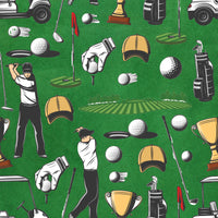 Golf Fabric, Golf men and their Toys, Cotton or Fleece 3038 - Beautiful Quilt