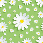 Flower Fabric, White Daisy on a light green background 1562