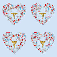 Medical Fabric, Heart Fabric filled with medical stuff, Cotton or Fleece 1680 - Beautiful Quilt