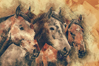 Horse Fabric, Watercolor Horse Fabric Panel on Brown 1149