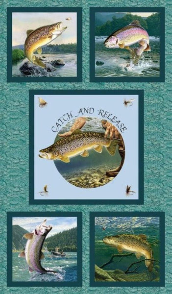 Fishing Fabric, Fresh Water Fishing Panel 2021 - Beautiful Quilt