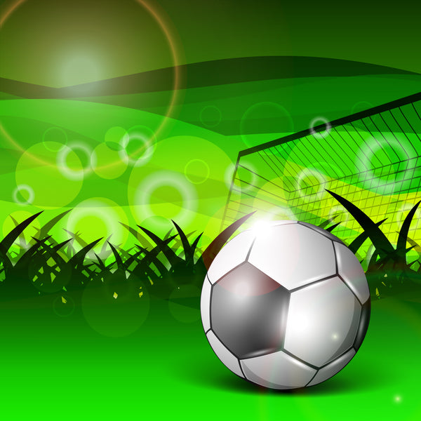 Sports Fabric, Soccer Fabric, Ball and Goldpost on Green 1268