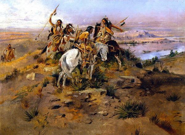 Western Fabric, Native Americans on the bluff by Charles Russell 1167