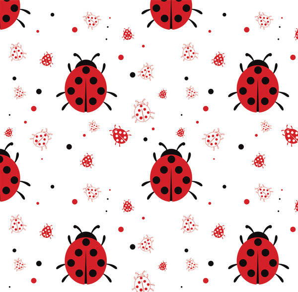 Bug Fabric, Ladybug Fabric big and little on white, Cotton or Fleece 2035 - Beautiful Quilt