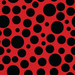 Lady Bug Fabric, Black Dots on Red Fabric, Cotton or Fleece 2083