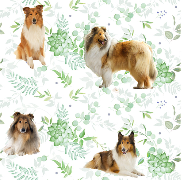 Dog Fabric, Collie Fabric with green leaves, Cotton or Fleece 2001 - Beautiful Quilt
