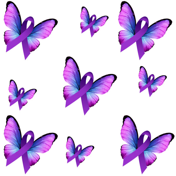 Lupus Awareness Fabric, Alzheimer's Fabric, Pancreatic Fabric, Butterfly with Ribbon, Cotton, Fleece or Canvas 2227 - Beautiful Quilt