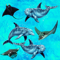 Ocean Fabric, Dolphin and Manta Ray Fabric, Cotton or Fleece 2172 - Beautiful Quilt