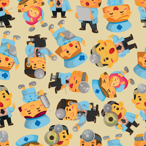 Medical Fabric, Cartoon Medical People, Cotton or Fleece, 2250 - Beautiful Quilt