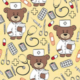 Medical Fabric, Teddy Bear Medical Fabric, Many Colors, Cotton or Fleece 1558 - Beautiful Quilt