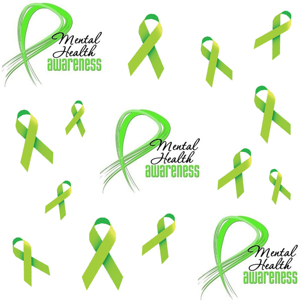Mental Health Awareness Ribbon Fabric, Cotton or Fleece 1672