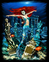 Ocean Fabric, Mermaid Fabric Panel with Ruins on Black 2056 - Beautiful Quilt