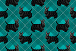 Dog Fabric, Scottie Dog Fabric, Tartan Teal, Cotton or Fleece, 3322 - Beautiful Quilt