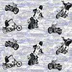 Motorcycle Fabric, Ride 'em, Black on gray and blue 280