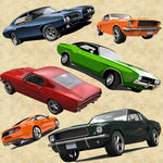 Car Fabric, Muscle Cars on Cream, Cotton or Fleece, 2224 - Beautiful Quilt