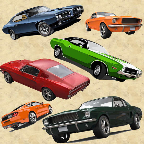 Car Fabric, Muscle Cars on tan, Cotton or Fleece, 2224 - Beautiful Quilt