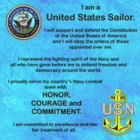 Military Fabric, Navy Fabric, Navy Sailor's Creed Fabric Panel, 2196 - Beautiful Quilt