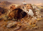Western Fabric, Native American Buffalo Hunt by Charles Russell 1168