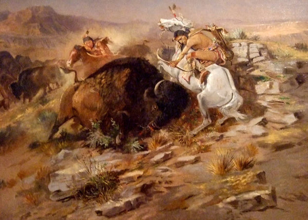 Western Fabric, Native American Buffalo Hunt by Charles Russell 1168 - Beautiful Quilt