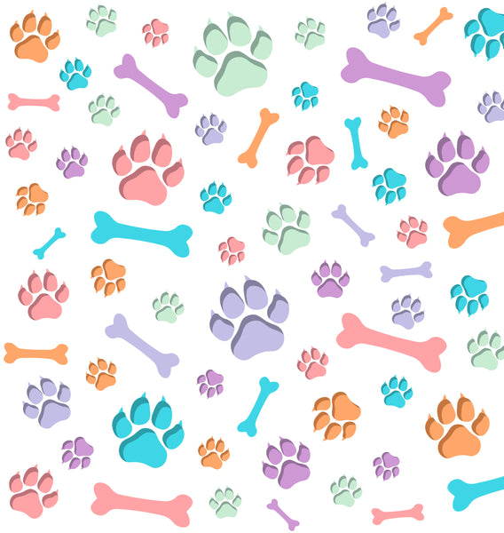 Dog Fabric, Pastel Bones and Paws, Cotton or Fleece, 3305