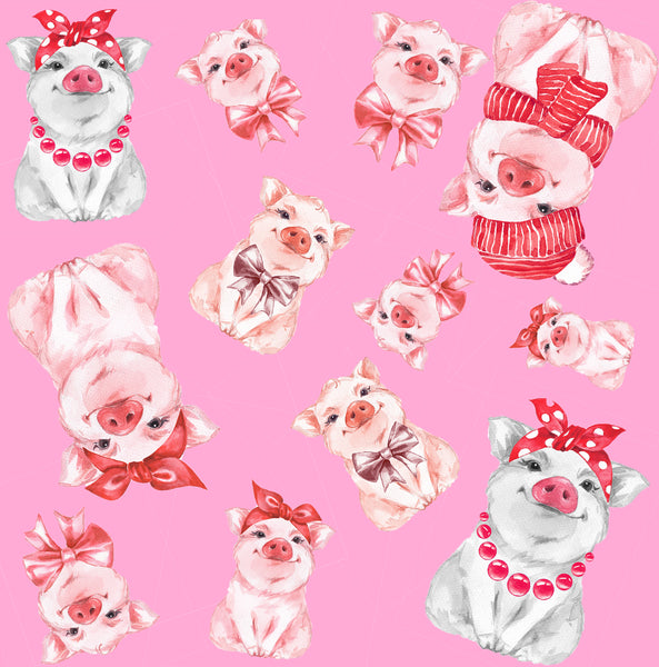 Pig Fabric, Little Pigs on Pink, Cotton or Fleece 1892