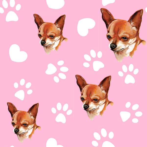 Dog Fabric, Chihuahua Fabric on Pink, Cotton or Fleece, 3010 - Beautiful Quilt