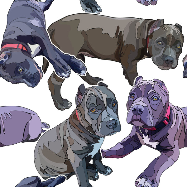 Dog Fabric, Pit Bulls on White, Illustration Seamless, Cotton or Fleece, 2086 - Beautiful Quilt