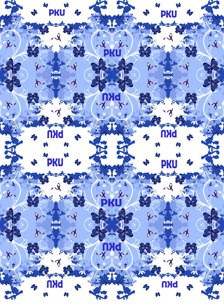 PKU Awareness Fabric aka Phenylketonuria, blue double print 1121