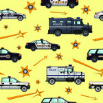 Police Fabric, Swat Trucks and Police Cars, Cotton or Fleece 1283 - Beautiful Quilt