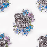 Dog Fabric, Pug Fabric with Pretty Blue Flowers, Cotton 1479