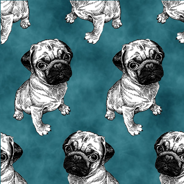 Dog Fabric, Pug Fabric on dark teal, Cotton or Fleece 2135