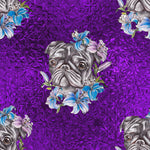 Dog Fabric, Pug Fabric with flowers on Purple, Cotton or Fleece, 2123