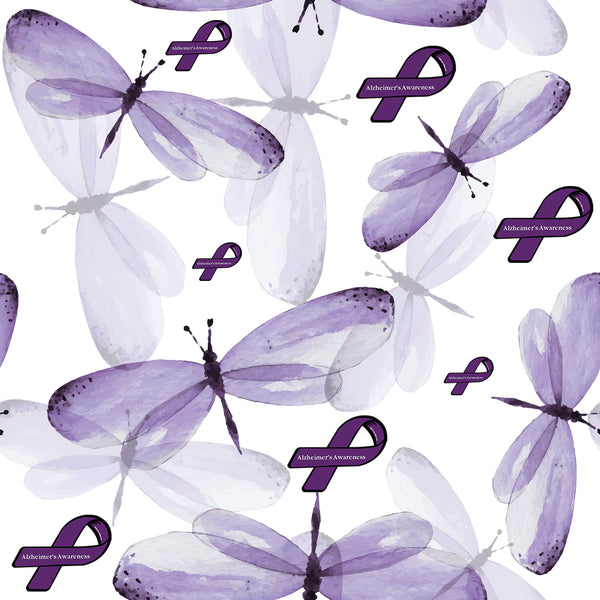 Alzheimer's Awareness Ribbon Fabric with Dragonflies 1403