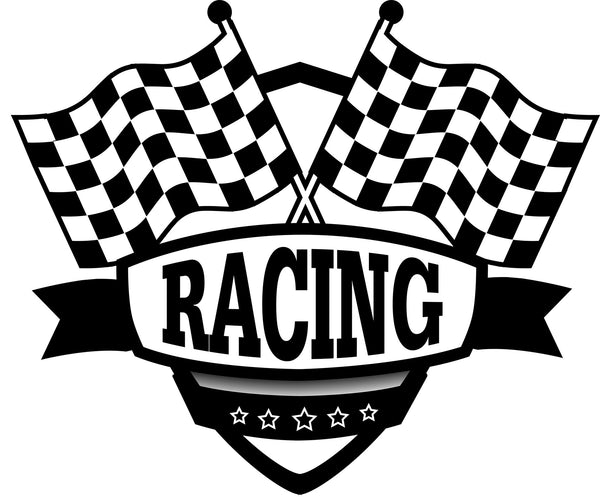 Race Car Fabric, Checkered Flag and logo Black 1391 - Beautiful Quilt